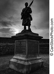 A shot of a soldier at Stirling Castle in Scotland