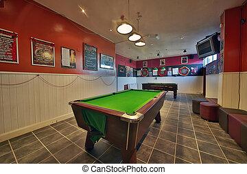 Pool Table - A shot of an 8 ball Pool Table