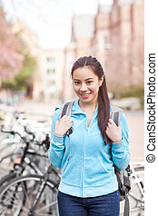 Asian college student - A shot of an Asian college student...