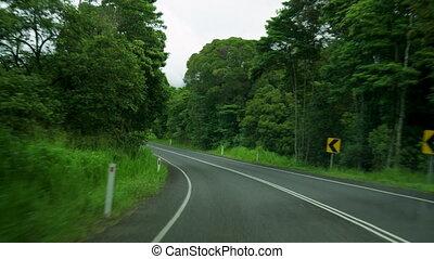 A shot of curvy road - A medium shot of a curvy road.