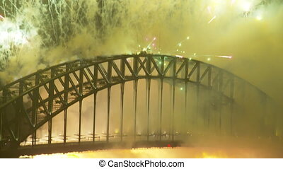 A shot of fireworks from the harbour bridge - A zoomed in...