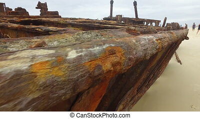 A shot of rusty metals on beach - A close up shot of metal...