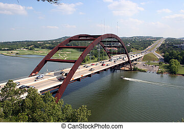 Austin 360 Bridge - A shot of the Austin 360 Bridge on a...