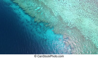 A shot of the sea, coral reef, the clouds and sky