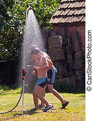 A shower outdoor