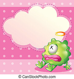 A sick green monster in front of the empty cloud template