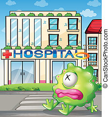 A sick monster in front of the hospital