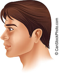 A side view of a man's face - Illustration showing a side...
