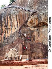 a, sigiriya, (lion's, rock), é, um, antiga, rocha,...