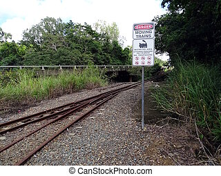 A sign mounted by a railroad track