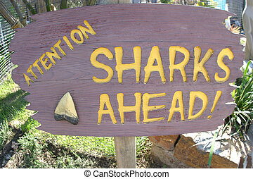 Sharks Ahead! - A sign taken with a wide-angle lens that...