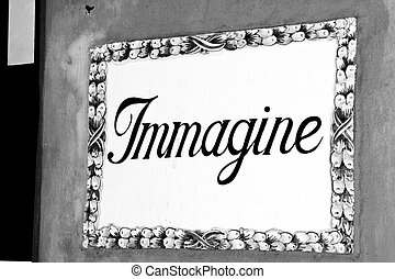 a sign with written immagine