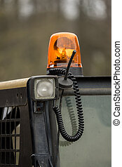 A signal light on a construction vehicle