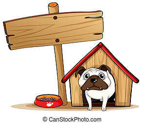 A signboard beside a doghouse with a dog - Illustration of a...