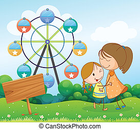 Illustration of a signboard near a mother and a child