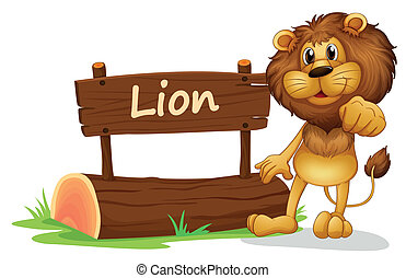 A signboard with a lion