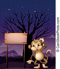 A signboard with a monkey