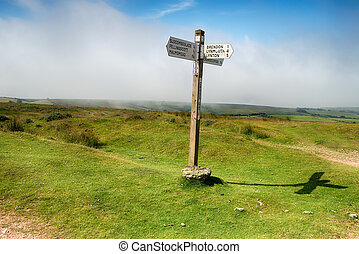 Cross Gate on Exmoor - A signpost at Cross Gate on Exmoor ...