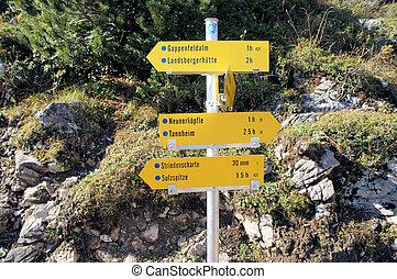 A signpost in the Allgaeu Alps