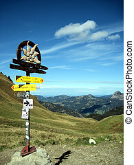 A signpost in the Alps