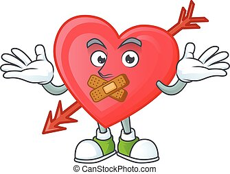 a silent gesture of arrow love mascot cartoon character design