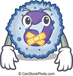 a silent gesture of basophil cell mascot cartoon character ...
