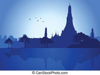 A silhouette illustration of Wat Arun Temple in Bangkok