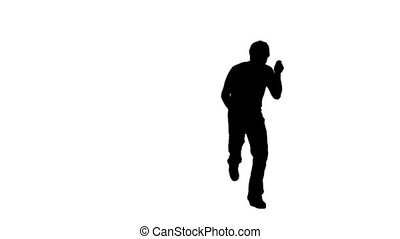 A silhouette man is dancing against a white background