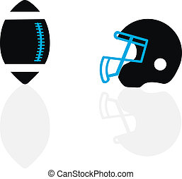 A silhouette of a ball and helmet