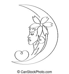 A silhouette of a girl drawn in a month with a flower on her head and heart. Isolated stock vector illustration.
