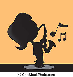 playing saxophone - a silhouette of a girl playing saxophone