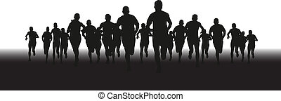 group of runners - a silhouette of a group of runners