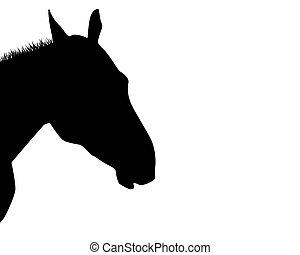 A silhouette of a horse head