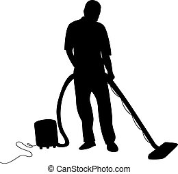a man hoovering - a silhouette of a man hoovering