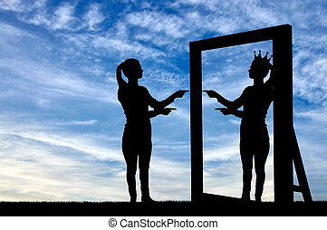 A silhouette of a narcissistic woman raises her self-esteem...