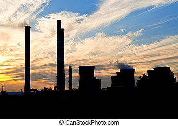 silhouette of power plant