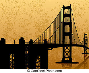 Golden Gate Bridge - A silhouette of the Golden Gate Bridge