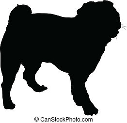 Pug - A silhouette portrait, in profile, of a standing Pug...