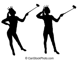 A silhouette vector a narcissistic and selfish woman makes selfie on the phone