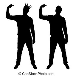 A silhouette vector of a narcissistic man shows his finger at himself