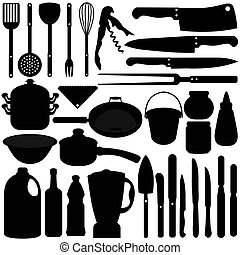 Baking, Cooking Tools - A silhouettes vector collection of...