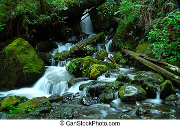 A silky waterfall horizontal - A silky waterfall in the...