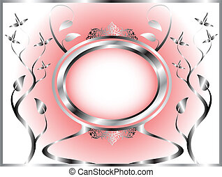 A silver and pink floral template design