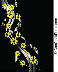 A silver and yellow floral background template design with room for text on a black background