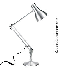 silver anglepoise lamp with clipping path - a silver...
