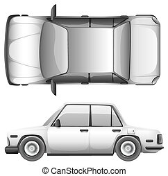 A silver car
