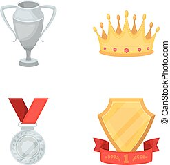 A silver cup, a gold crown with diamonds, a medal of the laureate, a gold sign with a red ribbon.Awards and trophies set collection icons in cartoon style vector symbol stock illustration web.