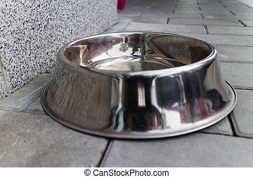 silver dog food bowl
