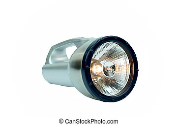 A Silver Flashlight isolated - A Silver Flashlight isolated...