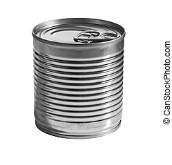 A silver tin can isolated on a white background. clipping path